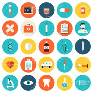 28993059-flat-icons-set-of-medical-tools-and-healthcare-equipment-science-research-and-health-treatment-servi-stock-vector